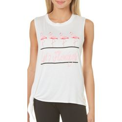 Miss Popular Juniors Let's Flamingle Side Tie Tank Top