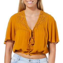 Rewind Juniors Solid Crochet Detail Tassle Cropped Top