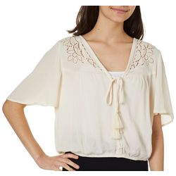 Rewind Juniors Solid Embroidered Tassel Detail Top