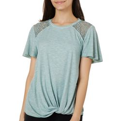 Rewind Juniors Solid Lace Detail Shoulder Top