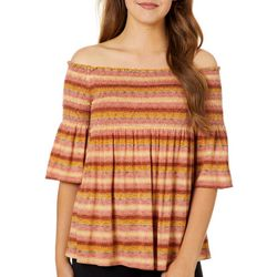 Rewind Juniors Mixed Stripe Smocked Off The Shoulder Top