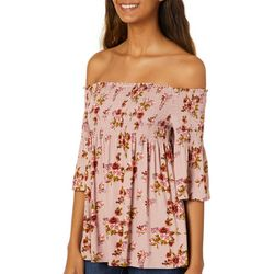 Rewind Juniors Floral Print Smocked Off The Shoulder Top