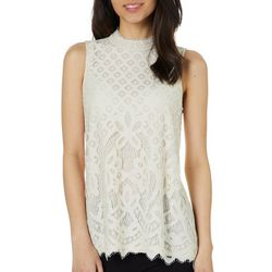 Rewind Juniors Lace High Neck Sleeveless Top