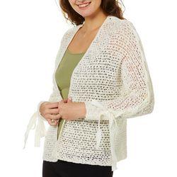 Rewind Juniors Crochet Lace-Up Sleeve Cardigan