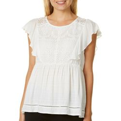 Rewind Juniors Solid Lace Panel Top