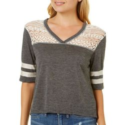 Rewind Juniors Crochet Athletic Striped Top