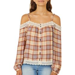 Rewind Juniors Plaid Print Lace Trim Cold Shoulder Top