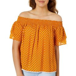 Rewind Juniors Polka Dot Off The Shoulder Top