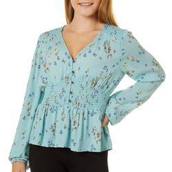 Rewind Juniors Floral Print Button Detail Top