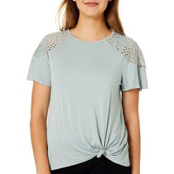 Rewind Juniors Solid Floral Embroidered Shoulder Top