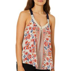 Rewind Juniors Mixed Floral Crochet Racerback Tank Top