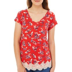 Rewind Juniors Floral Lace Trim Crisscross Back Top