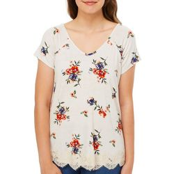 Rewind Juniors Floral Print Crisscross Back Lace Trim Top
