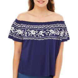Rewind Juniors Puff Print Floral Off The Shoulder Top