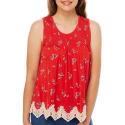 Rewind Juniors Ditsy Floral Crochet Trim Tank Top