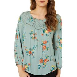 Rewind Juniors Polka Dot Floral Print Top