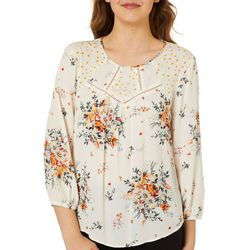 Rewind Juniors Boho Polka Dot Floral Print Top