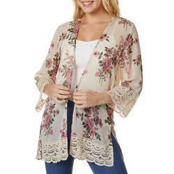 Rewind Juniors Floral Crochet Lace Trim Kimono