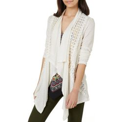 Rewind Juniors Solid Embroidered Long Sleeve Cardigan