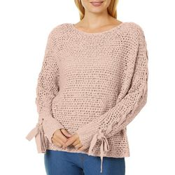 Rewind Juniors Solid Lace-Up Sleeve Sweater