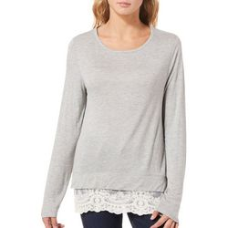 Rewind Juniors Heathered Lace Hem Long Sleeve Top