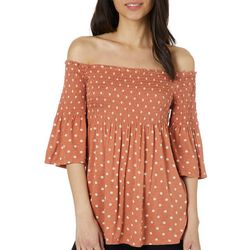 Rewind Juniors Polka Dot Smocked Off The Shoulder Top