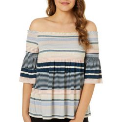 Rewind Juniors Striped Smocked Off The Shoulder Top