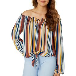 Rewind Juniors Striped Tie Front Off The Shoulder Top