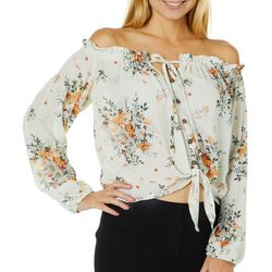 Rewind Juniors Cropped Floral Tie Front Off The Shoulder Top