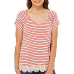 Rewind Juniors Striped Crisscross Back Lace Trim Top