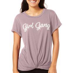 Miss Chievous Juniors Girl Gang Knot Front T-Shirt