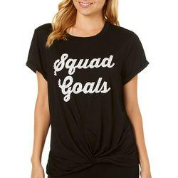 Miss Chievous Juniors Squad Goals Knot Front T-Shirt