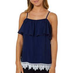 Miss Chievous Juniors Solid Lace Trim Popover Tank Top