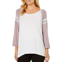 Miss Chievous Juniors Athletic Striped Colorblock Top