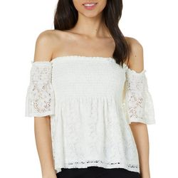 Miss Chievous Juniors Smocked Lace Off The Shoulder Top