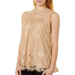 Miss Chievous Juniors All Over Lace High Neck Tank Top