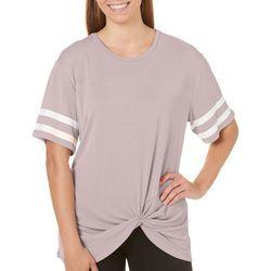 Miss Chievous Juniors Knot Front Varsity T-Shirt