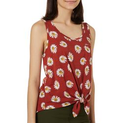 Rebellious One Juniors Daisey Print Tie Front Tank Top