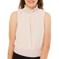 Honey & T Juniors Polka Dot Smocked Mock Neck Top