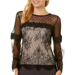 Honey & T Juniors Scalloped Lace Long Sleeve Top