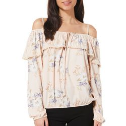 Liberty Love Juniors Ruffled Floral Cold Shoulder Top