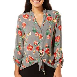 Cure Apparel Juniors Striped Floral Tie Front Top