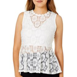 Ultra Pink Juniors Lace Sleeveless Peplum Top