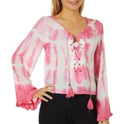 Exist Juniors Cropped Tie Dye Lace-Up Tassel Top