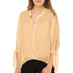 HYFVE Juniors Solid Button Down Hi-Lo Top