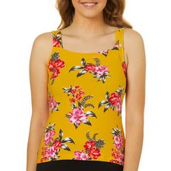No Comment Juniors Tropical Hibiscus Print Tank Top