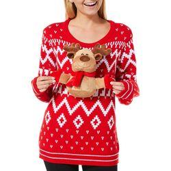 No Comment Juniors Stuffed Reindeer Sweater
