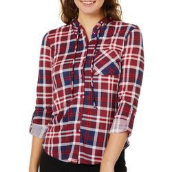 No Comment Juniors Hooded Plaid Button Down Top