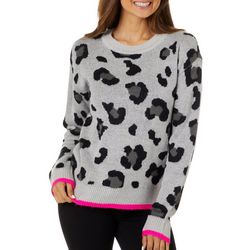 No Comment Juniors Leopard Print Long Sleeve Sweater