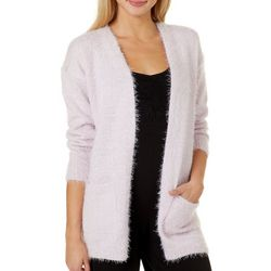 No Comment Juniors Solid Textured Long Sleeve Cardigan